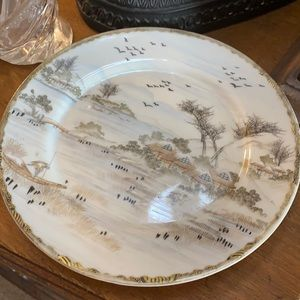 Asian Display Plate Hand Painted in Gold Highlights